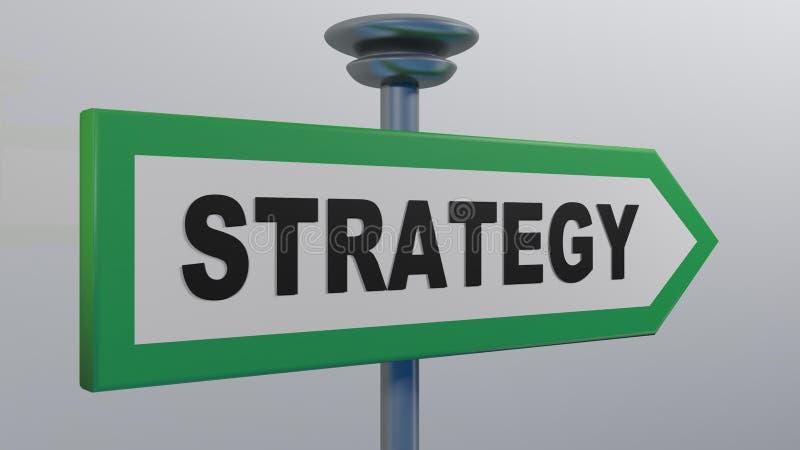 绿色街道箭头标志战略- 3D翻译例证 向量例证
