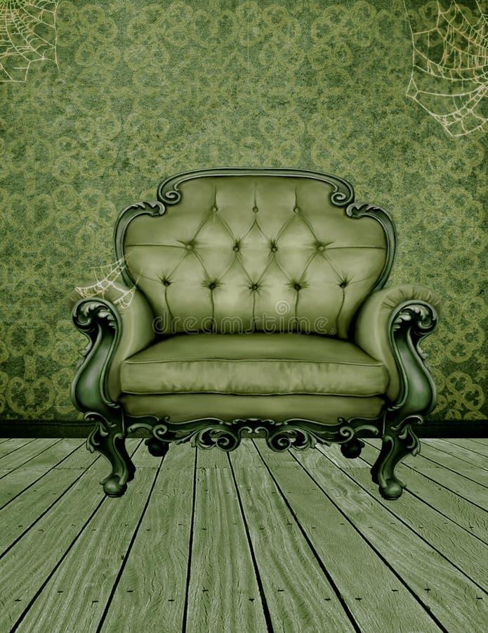 绿色被困扰的屋子 皇族释放例证