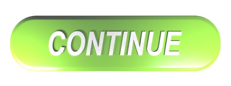 绿色被环绕的长方形按钮继续- 3D翻译例证 皇族释放例证