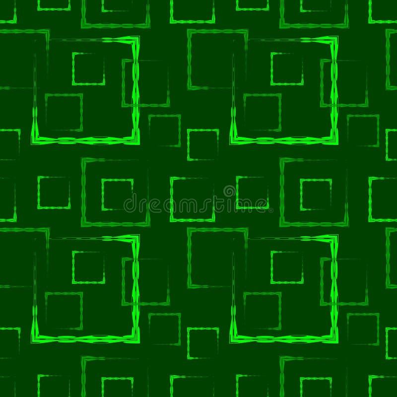 绿色被雕刻的正方形和框架的抽象草背景或样式 库存例证