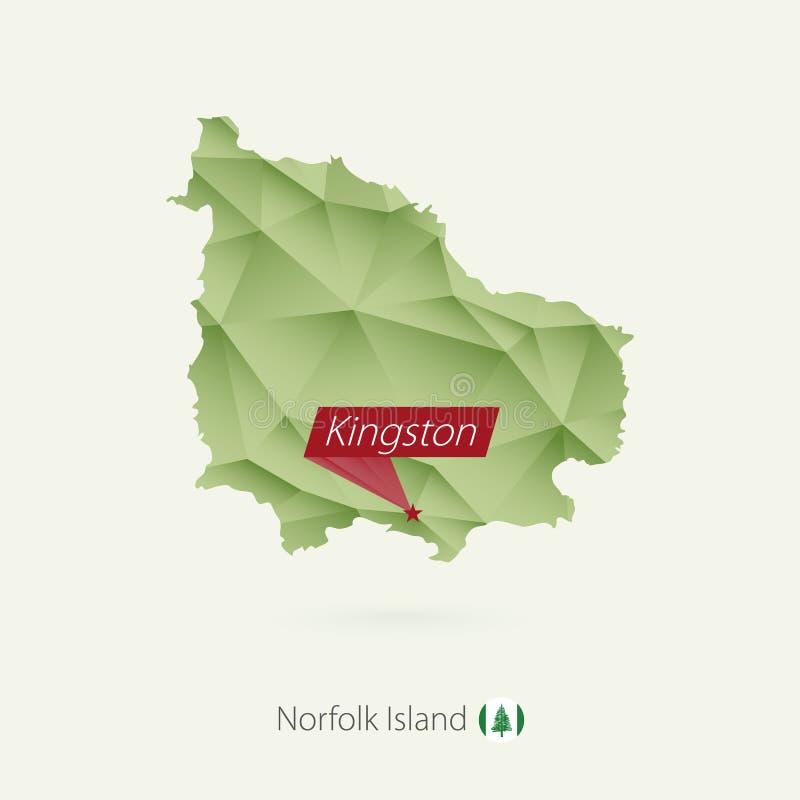 绿色诺福克岛梯度低多地图有首都的金斯敦 皇族释放例证
