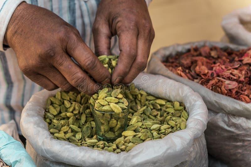 绿色豆蔻果实在印地安市场上 免版税库存图片
