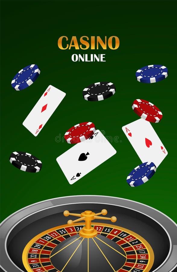 绿色赌博娱乐场网上概念背景,现实样式 向量例证