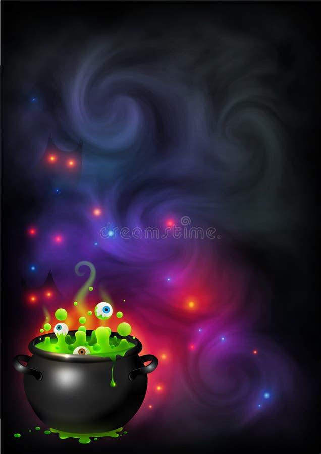绿色起泡注视在黑罐的巫婆酿造在黑暗的紫罗兰色烟和魔术光背景 传染媒介万圣夜海报 向量例证