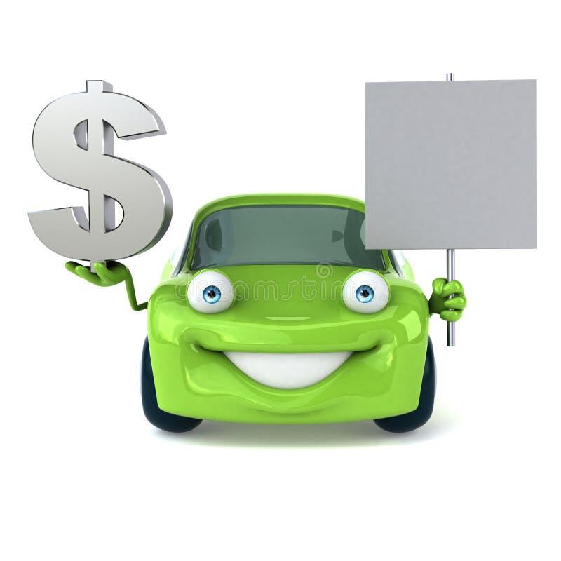 绿色车的3D例证 皇族释放例证