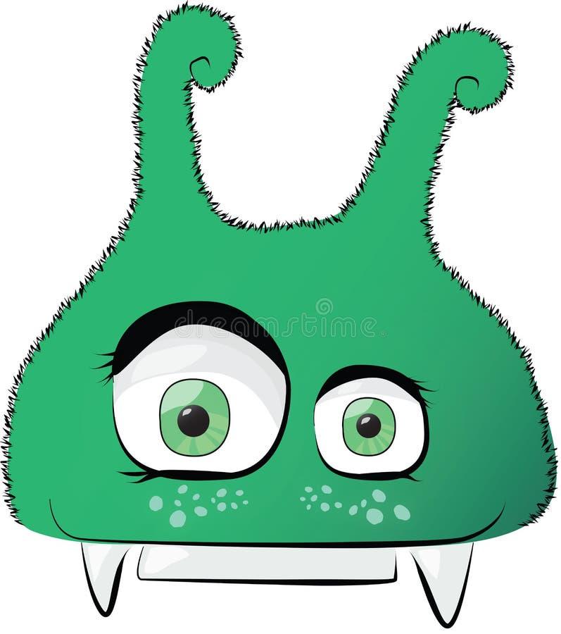绿色逗人喜爱的暴牙的妖怪 库存图片