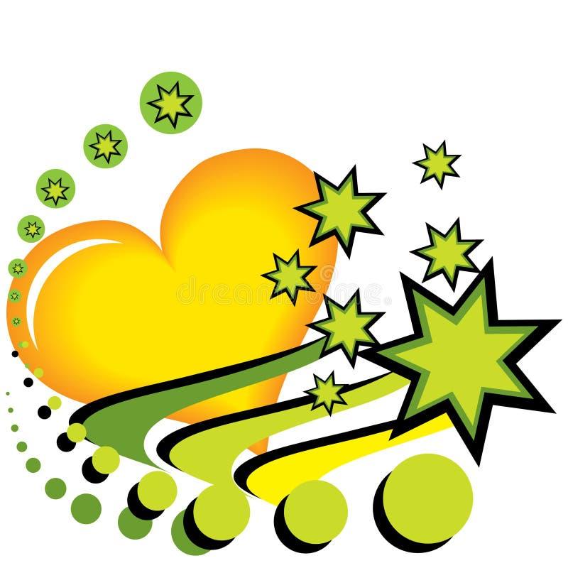绿色重点和星形 库存例证