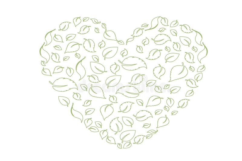 绿色重点离开符号 向量 eco生物叶子在心脏爱在白色背景的绿色象 向量例证