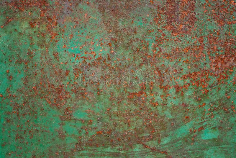绿色金属被腐蚀的纹理背景 抽象金属纹理 免版税库存照片