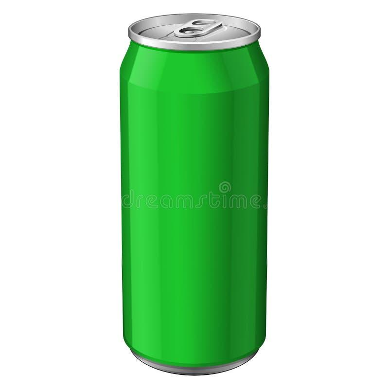 绿色金属铝饮料饮料能330ml 为您的设计准备 产品包装传染媒介 库存例证