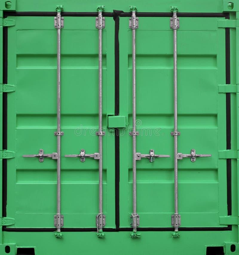 绿色铁货箱背景 库存照片