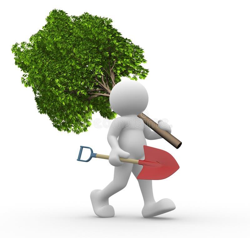 绿色铁锹结构树 皇族释放例证