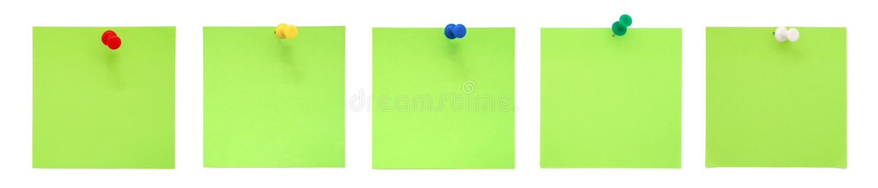 绿色附注图钉设置了粘性 免版税库存图片