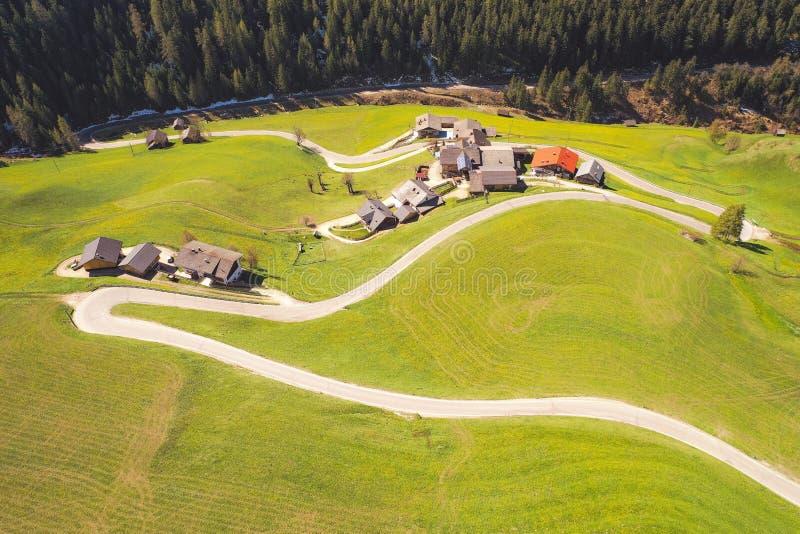 绿色陡峭的小山与房子和窄路的小镇在森林旁边 免版税图库摄影