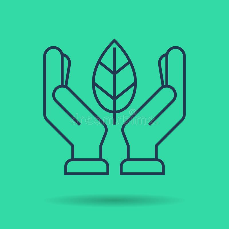 绿色隔绝了线性象-有叶子的手 皇族释放例证