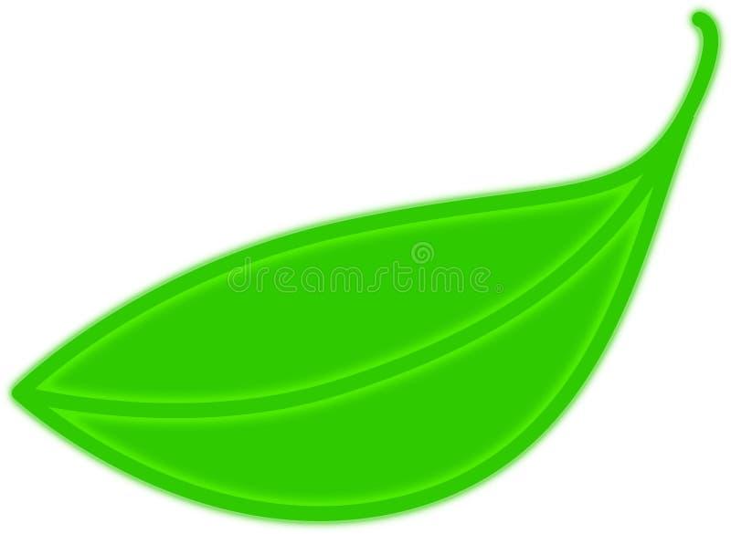 绿色霓虹叶子 库存例证