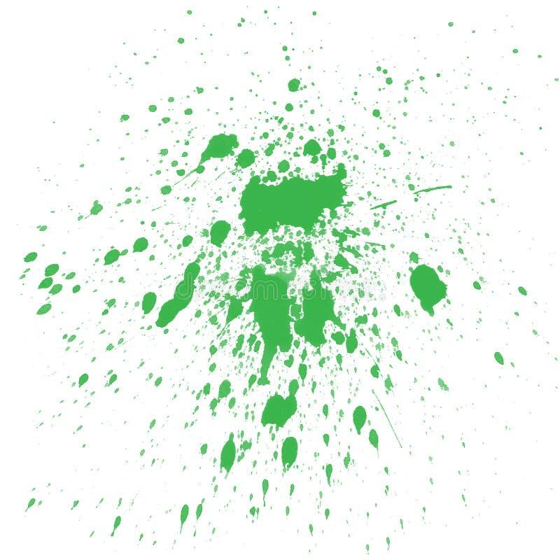 绿色飞溅水彩 库存例证