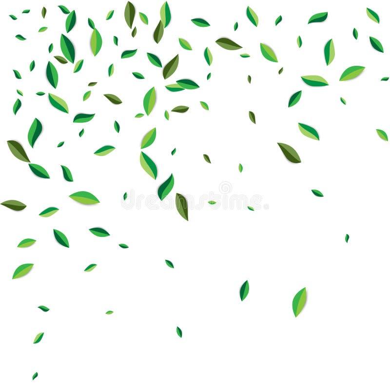 绿色飞行或掉下离开 传染媒介抽象叶子背景 库存例证