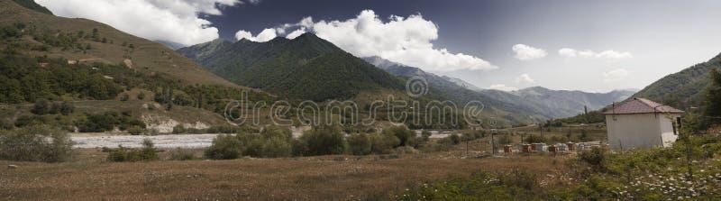 绿色高加索山脉全景风景在乔治亚 库存照片