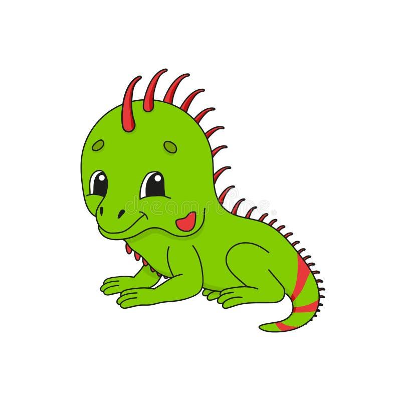 绿色鬣鳞蜥 在幼稚动画片样式的逗人喜爱的平的传染媒介例证 滑稽的字符 背景查出的白色 库存例证