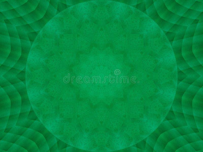 绿色鲜绿色金属纹理万花筒样式摘要圆的背景 抽象万花筒纹理背景 金属kaleid 向量例证