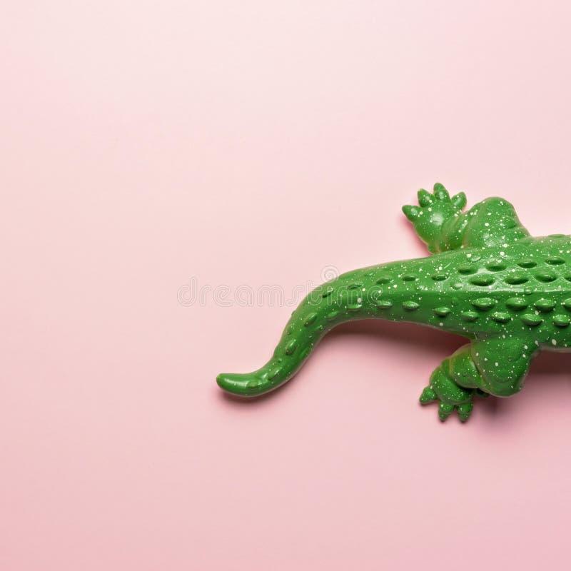 绿色鳄鱼玩具尾巴在粉红彩笔背景的 r 库存图片