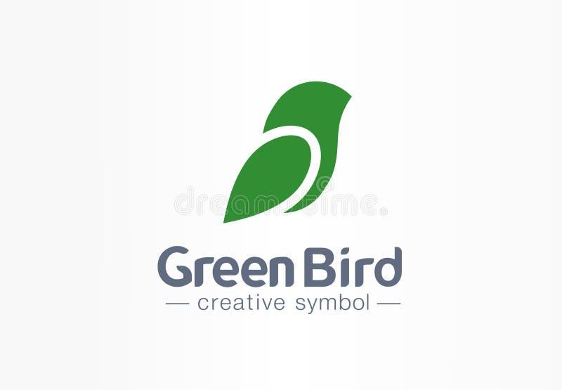 绿色鸟创造性的eco标志概念 自然自由麻雀摘要叶子剪影翼企业商标 艺术 皇族释放例证