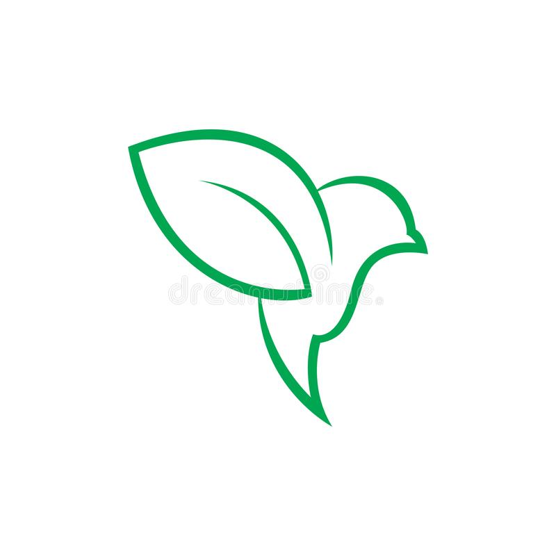 绿色鸟和叶子商标设计 皇族释放例证