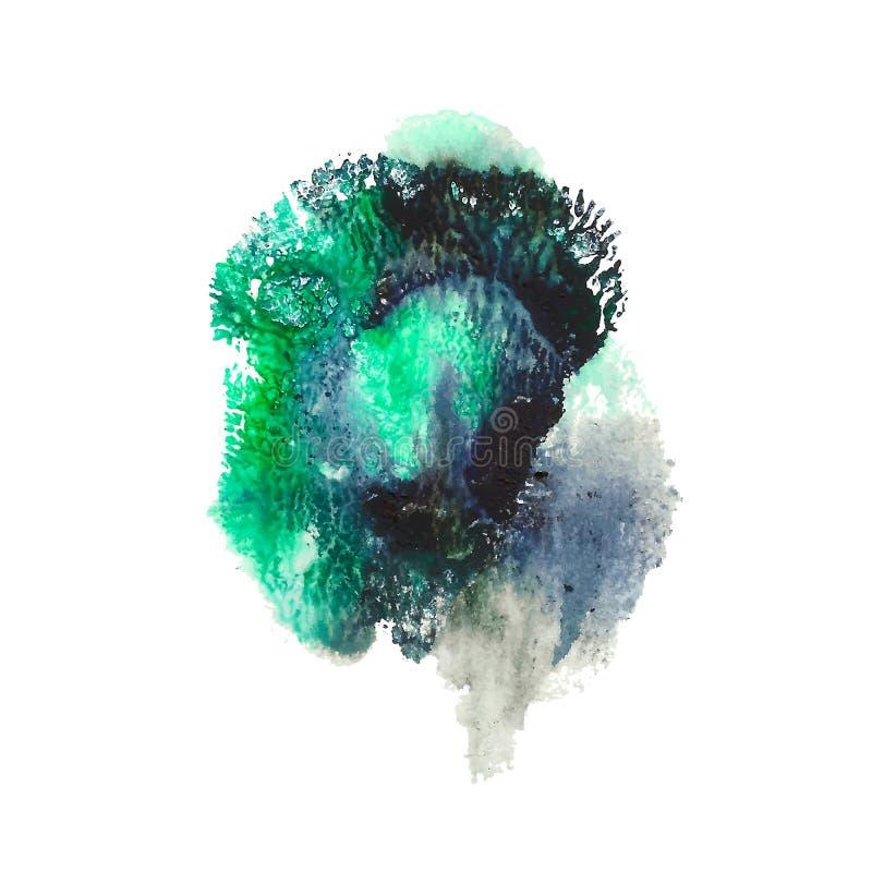 绿色,绿松石,黑明亮的丙烯酸漆摘要斑点 珊瑚形状的版本记录 向量例证