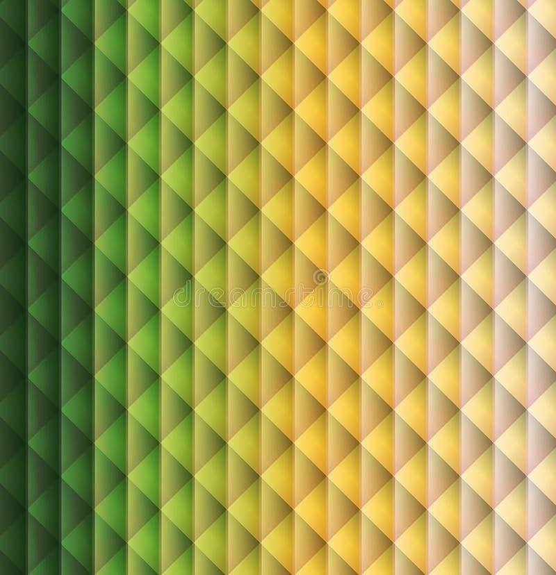 绿色,黄色几何形状样式菱形背景 库存例证
