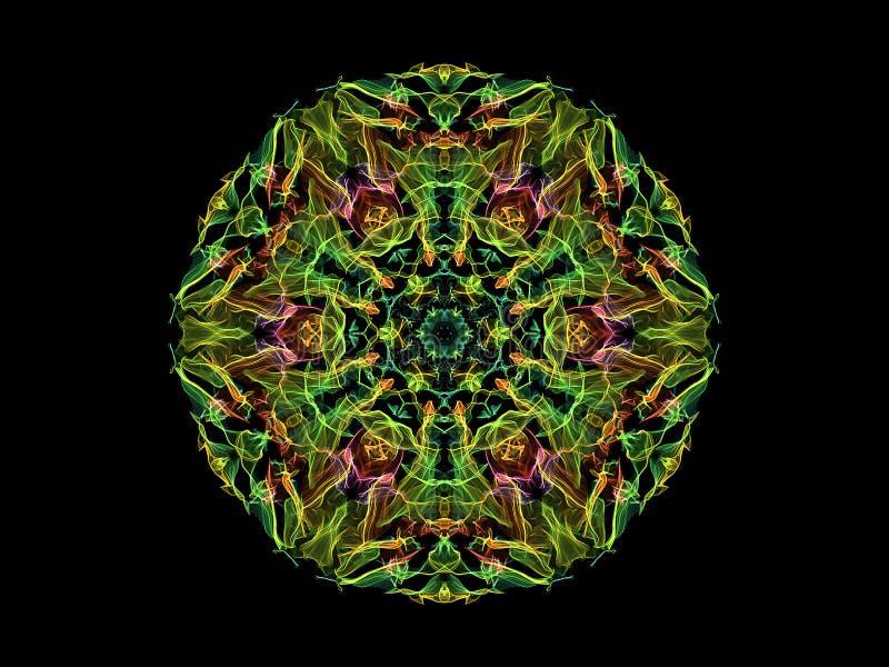 绿色,黄色和桃红色抽象火焰坛场花,在黑背景的装饰花卉圆的样式 瑜伽题材 库存例证