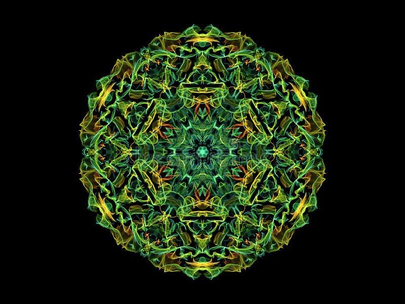 绿色,黄色和蓝色抽象火焰坛场花,在黑背景的装饰花卉圆的样式 瑜伽题材 库存例证