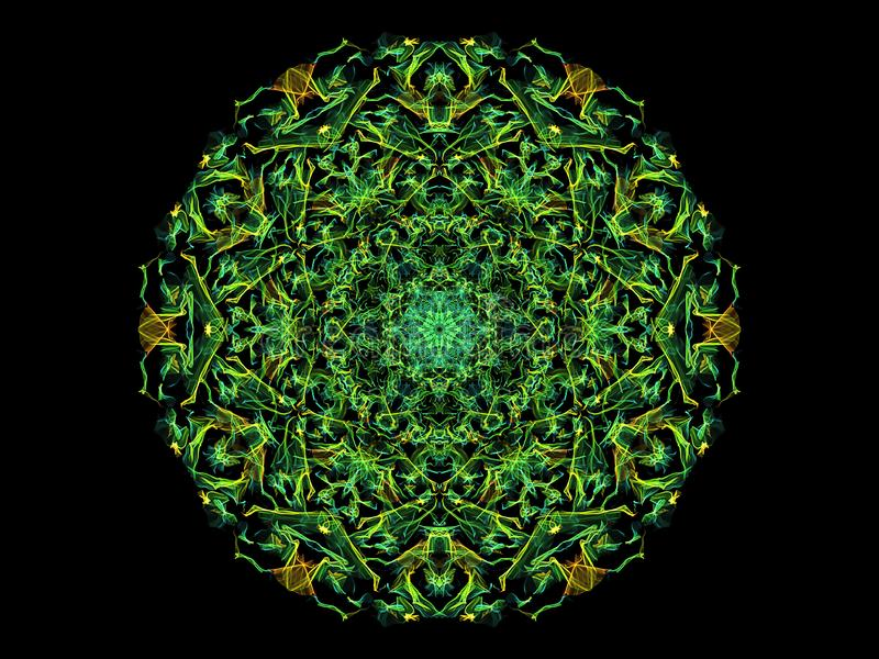 绿色,黄色和蓝色抽象火焰坛场花,在黑背景的装饰花卉圆的样式 瑜伽题材 皇族释放例证