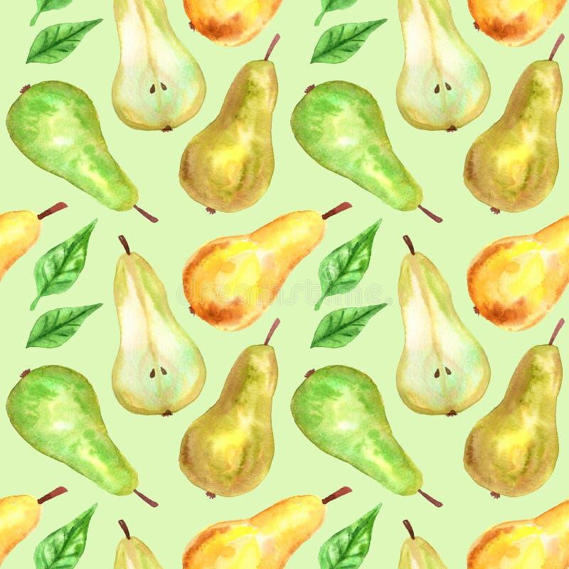 绿色,黄色梨和叶子 E r 印刷品的,织品,纺织品纹理, 向量例证
