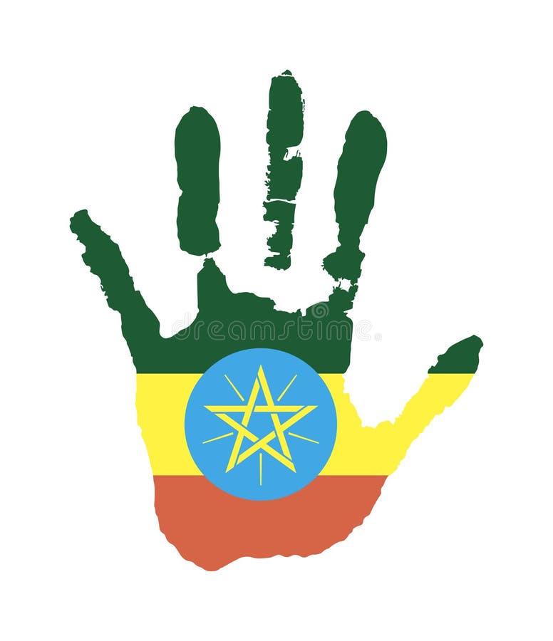 绿色,黄色,旗子的红色 以埃塞俄比亚的星旗子的形式传染媒介handprint 库存例证