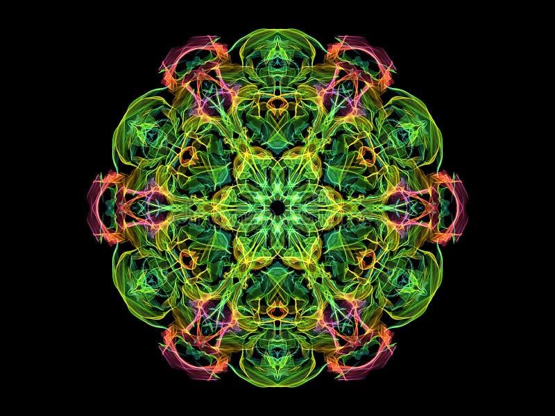 绿色,黄色,桃红色和蓝色抽象火焰坛场花,在黑背景的装饰花卉圆的样式 瑜伽题材 皇族释放例证