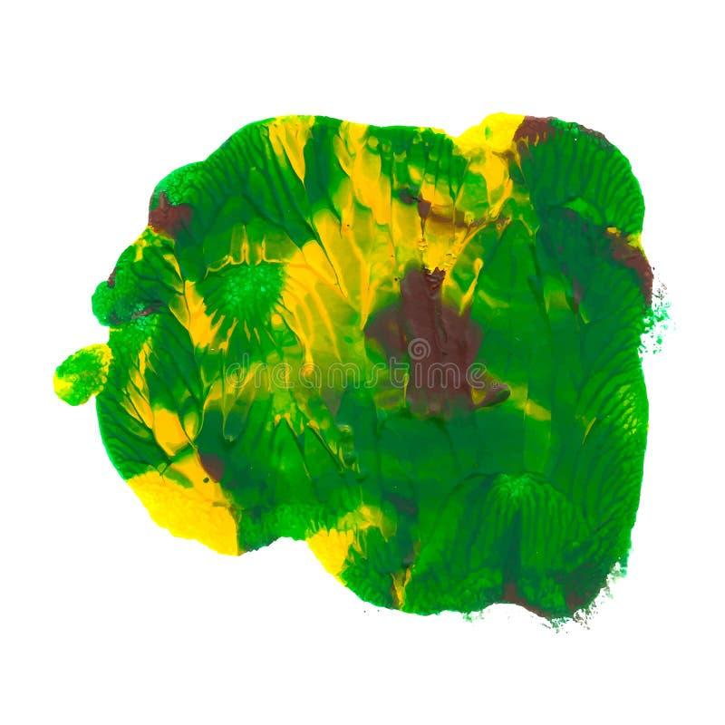 绿色,黄色,棕色丙烯酸漆摘要monotyped斑点 向量例证
