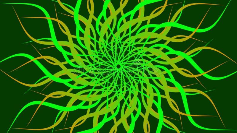 绿色&黄色转动的被仿造的五颜六色的螺旋,摘要挥动背景 皇族释放例证