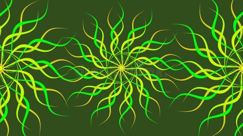 绿色&黄色转动的被仿造的五颜六色的螺旋,摘要挥动背景 向量例证