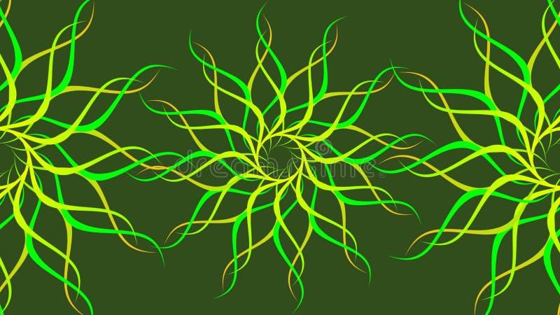 绿色&黄色转动的被仿造的五颜六色的螺旋,摘要挥动背景 库存例证