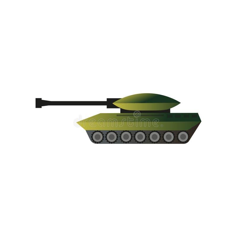 绿色camo军事战争坦克,杀害机器 向量例证