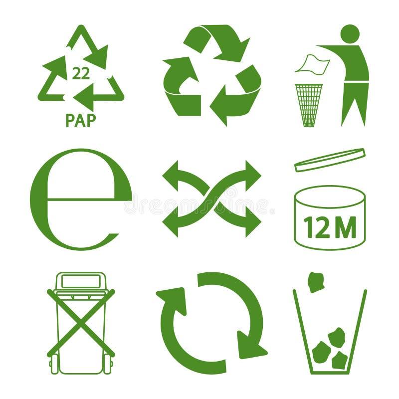 绿色eco回收和包装标志象集合 皇族释放例证