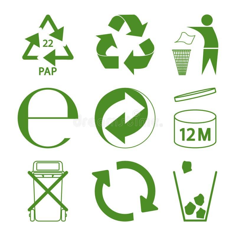 绿色eco回收和包装标志集合 皇族释放例证