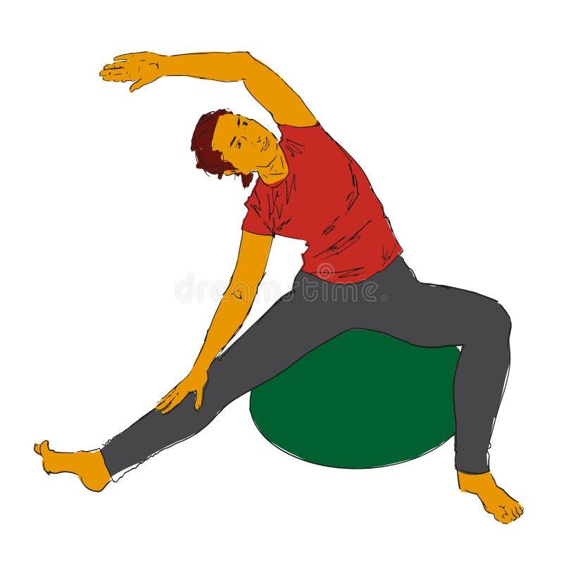 绿色fitball的,对边的掀动苗条妇女 库存例证