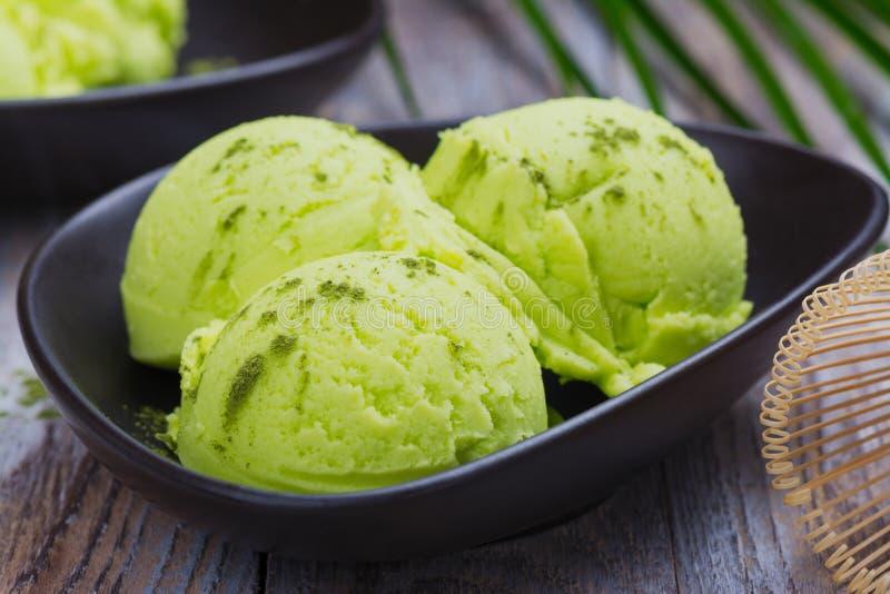 绿色matcha茶冰淇凌 库存图片
