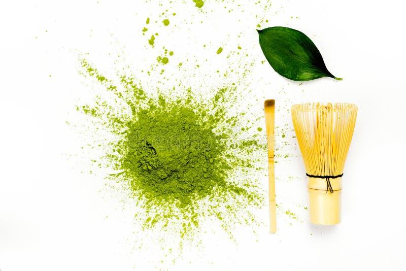 绿色matcha茶粉末 库存照片