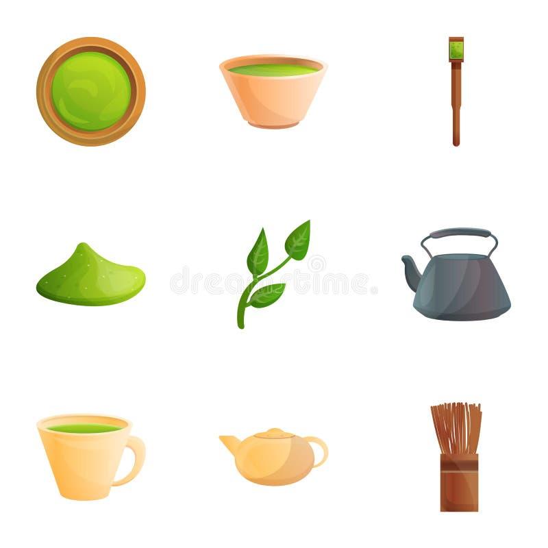 绿色matcha茶象集合,动画片样式 向量例证