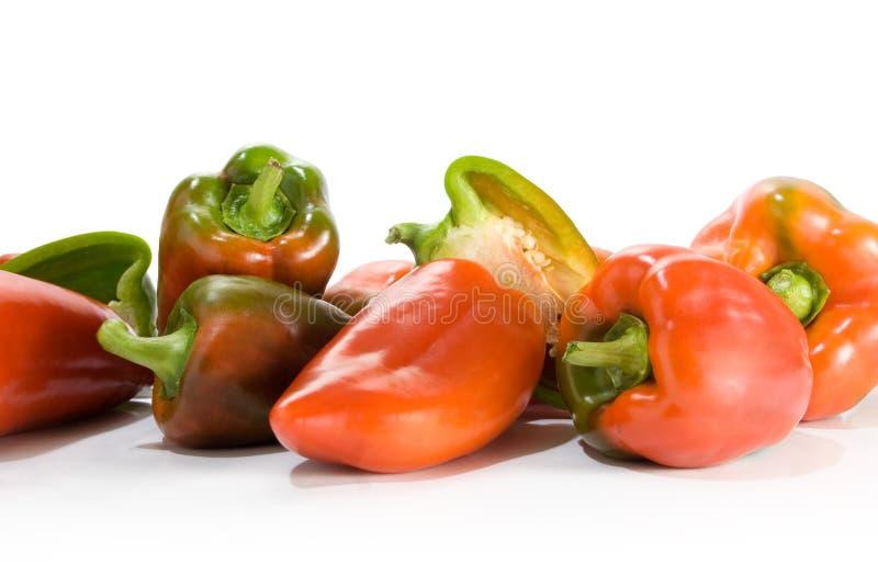 绿色paprica红色 免版税库存照片