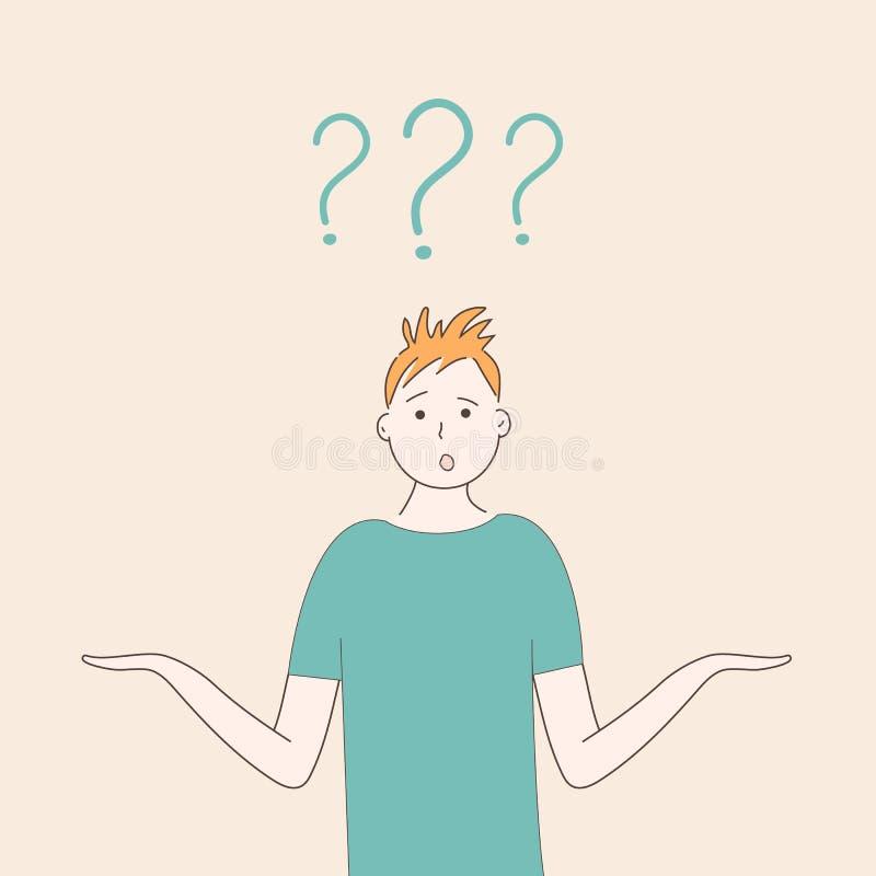 绿色T恤杉耸肩的一个人与天真好奇滑稽的面孔和胳膊分开 r r 向量例证