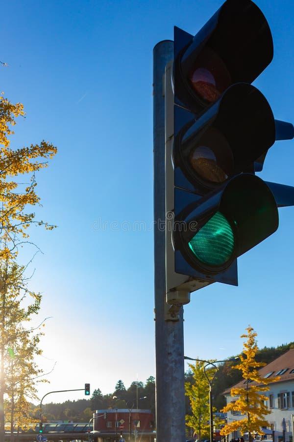 绿色trafficlight 库存照片